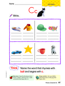 Letter Cc Review Worksheet