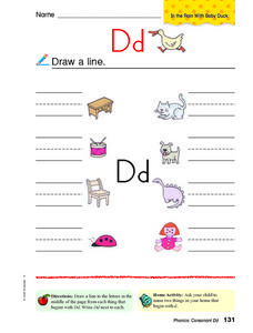 Letter D: Initial Sounds Worksheet