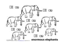 Letter Ee: Enormous Elephants Worksheet