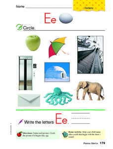 Letter Ee: Pictures Worksheet
