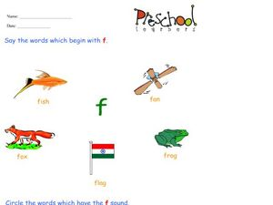 Letter F Words and Sounds Worksheet