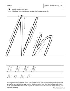 Letter Formation: Nn Worksheet
