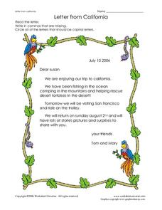 Letter from California Worksheet