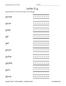 Letter Gg Worksheet