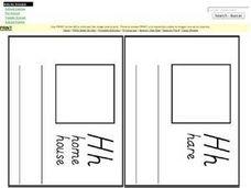 Letter H Words: Pages for Mini Book Worksheet