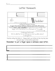 Letter Homework: Ll Worksheet