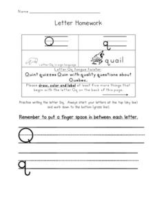 Letter Homework: Qq Worksheet