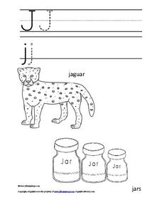 Letter Jj Trace and Color Worksheet