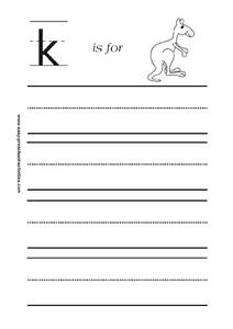Letter k is for Kangaroo Worksheet