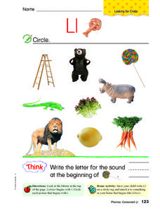 Letter L: Identify Worksheet