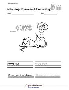 Letter m coloring, phonics, and printing Worksheet