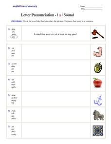 "Letter Pronunciation - ""a"" sound Worksheet"
