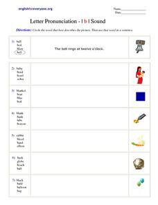 "Letter Pronunciation - ""b"" sound Worksheet"