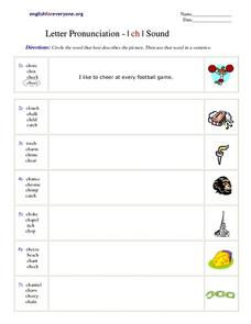 Letter Pronunciation - I ch I Sound Worksheet