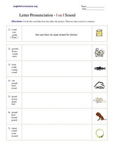 Letter Pronunciation -- | ou | Sound Worksheet