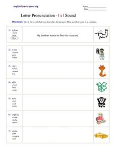 Letter Pronunciation-  The X Sound Worksheet