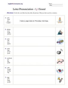 Letter Pronunciation- Y Sound Worksheet