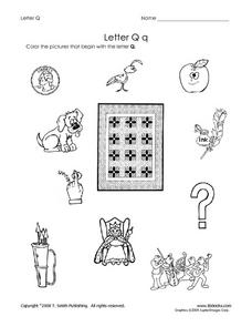 Letter Q: Pictures Worksheet