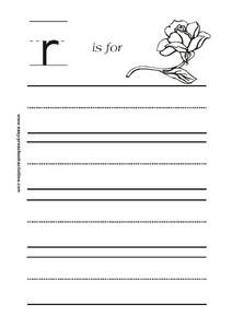 Letter r is for Rose Worksheet