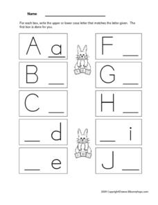 Letter Recognition and Printing Practice - A through J Worksheet