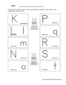 Letter Recognition and Printing Practice K through T Worksheet