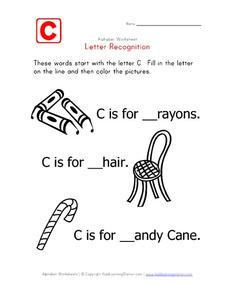 Letter Recognition: The Letter C Worksheet