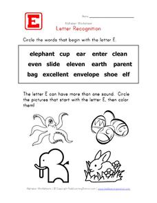 Letter Recognition: The Letter E Worksheet