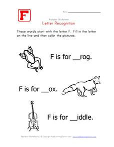 Letter Recognition: The Letter F - Fill in the Blank Worksheet