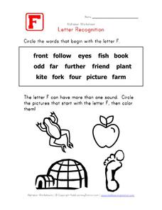 Letter Recognition: The Letter F Worksheet