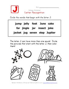 Letter Recognition: The Letter J Worksheet