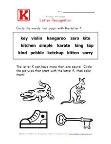 Letter Recognition: The Letter K Worksheet