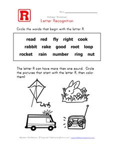 Letter Recognition: The Letter R Worksheet