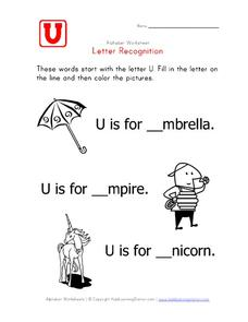 Letter Recognition: The Letter U - Fill in the Blanks Worksheet