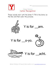 Letter Recognition: The Letter Y - Fill in the Blanks Worksheet
