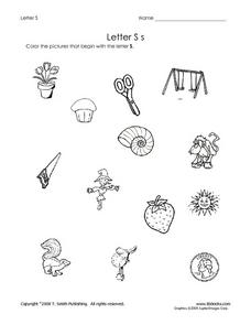 Letter S: Pictures Worksheet