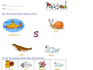 Letter S Words and Sounds Worksheet