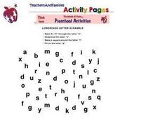 Letter Scramble-- Identifying Letter E, F. G ,H, I Worksheet