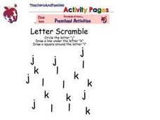 Letter Scramble-- Lower Case Letters J, K, L Worksheet