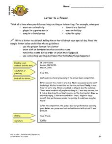 Letter To a Friend Lesson Plan