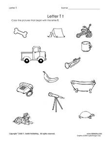 Letter Tt: Pictures Worksheet