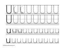 Letter Uu Tracing Worksheet
