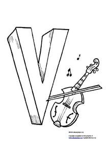 Letter V for Violin Worksheet