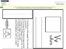 Letter V Mini Book/Flash Cards Worksheet