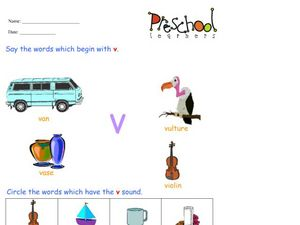 Letter V Words and Sounds Worksheet