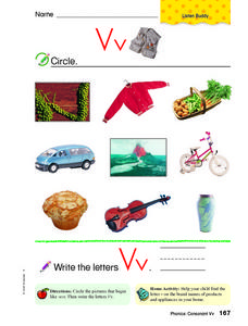 Letter Vv Pictures Worksheet
