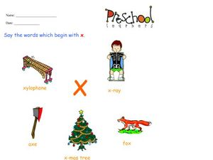 Letter X Words and Sounds Worksheet