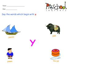 Letter Y Words and Sounds Worksheet