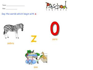 Letter Z Words and Sounds Worksheet