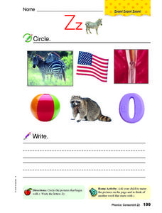 Letter Zz Review Worksheet