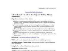 Letters from the Frontier: Reading and Writing Primary Documents Lesson Plan